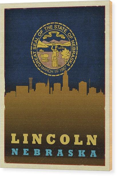 Lincoln City Skyline State Flag Of Nebraska Wood Print