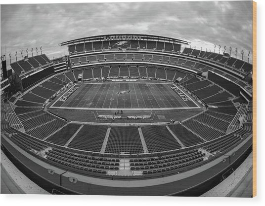 Lincoln Financial Field Black And White Wood Print