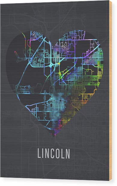 Lincoln Nebraska City Heart Street Map Dark Wood Print