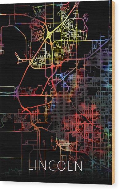 Lincoln Nebraska Watercolor City Street Map Dark Mode Wood Print