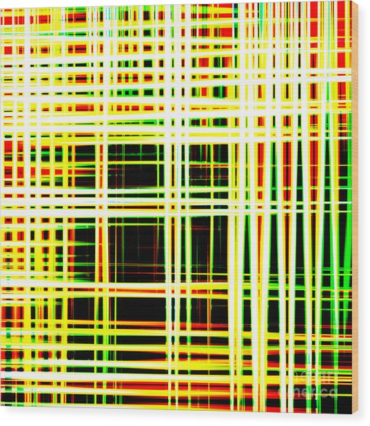 Lines And Squares In Color Waves - Plb418 Wood Print