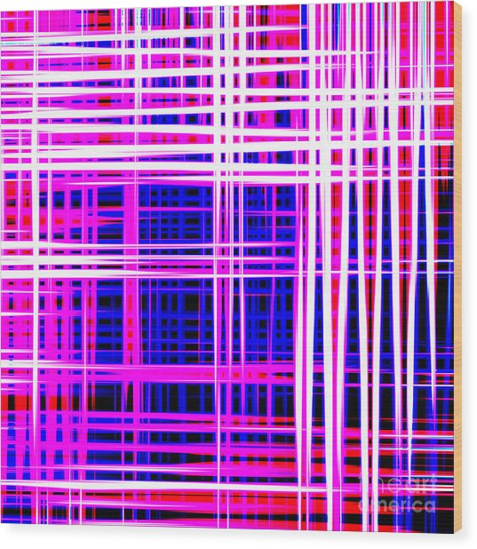 lines and squares in purple Color Waves - PL414 Wood Print