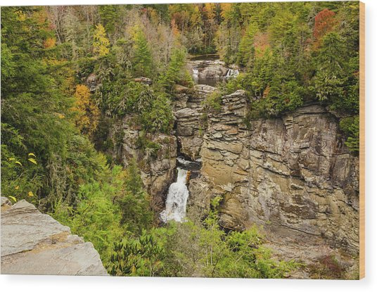 Linville Falls - Wide View Wood Print