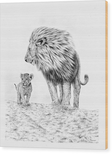 Lion And Cub Wood Print