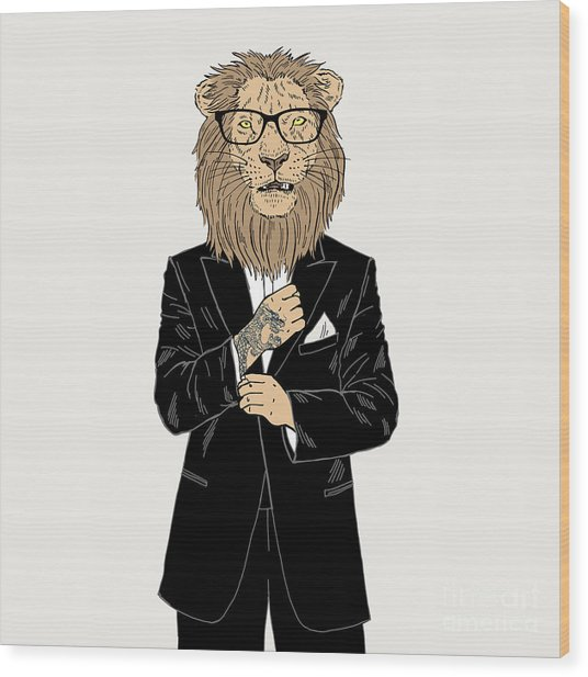 Lion Dressed Up In Tuxedo With Tattoo Wood Print by Olga angelloz