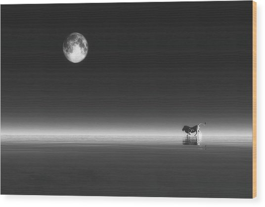 Wood Print featuring the digital art Lion by Jan Keteleer
