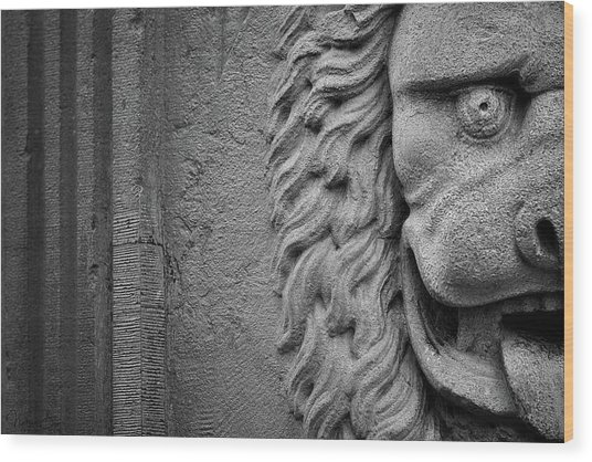 Lion Statue Portrait Wood Print