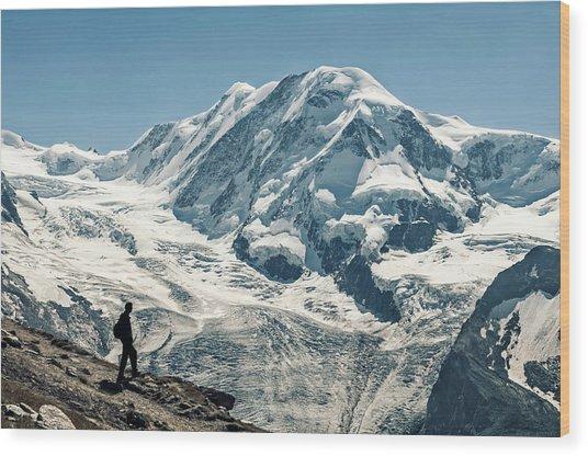 Liskamm Lyskamm 4527m Mountain Peak In Wood Print by Alpamayophoto