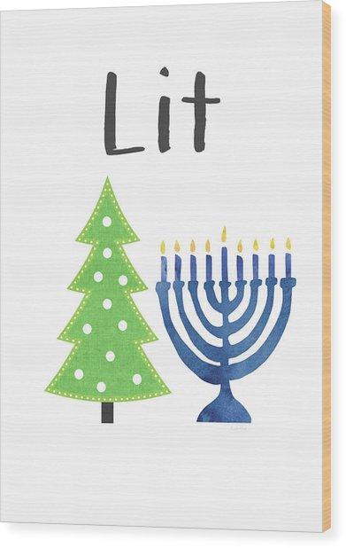 Lit Christmas And Hanukkah- Art By Linda Woods Wood Print