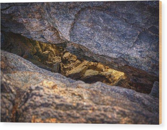 Lit Rock Wood Print