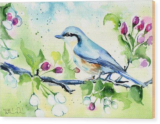 Little Blue Spring Bird Wood Print