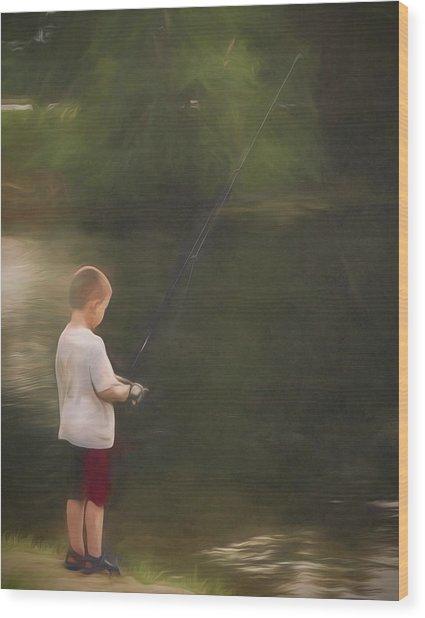Little Boy Fishing Wood Print