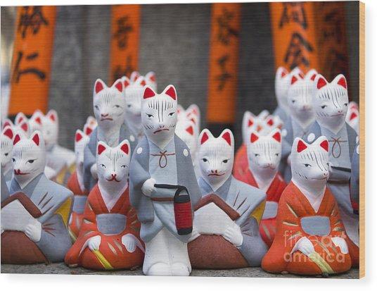 Little Fox Statues At Fushimi Inari Wood Print