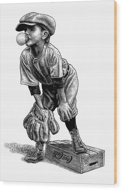 Wood Print featuring the drawing Little Leaguer by Clint Hansen