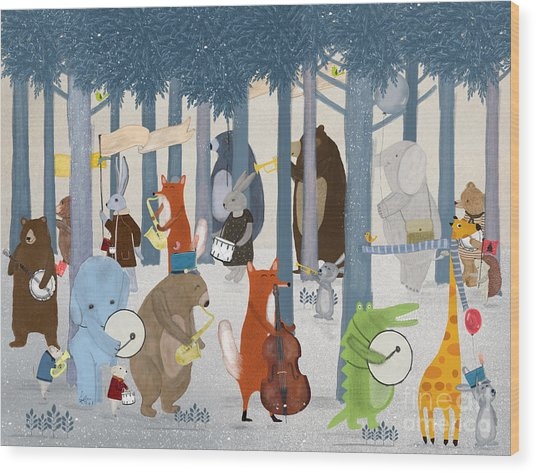 Little Nature Parade Wood Print by Bri Buckley