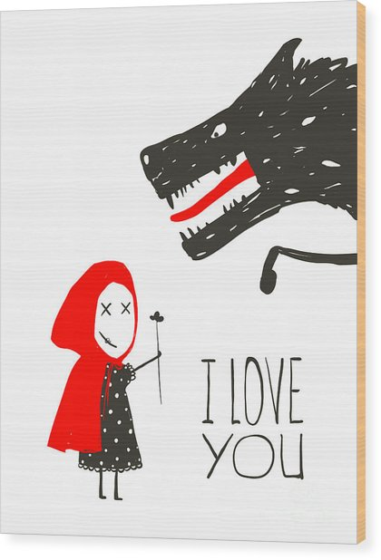 Little Red Riding Presenting Flower To Wood Print