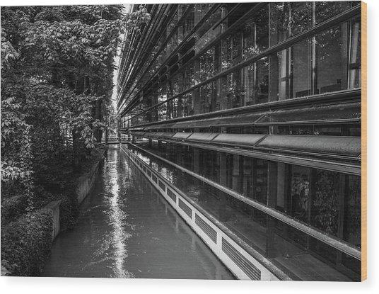 Little River, Big Building Wood Print