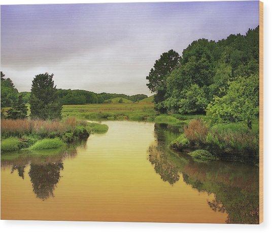 Little River Twilight Wood Print