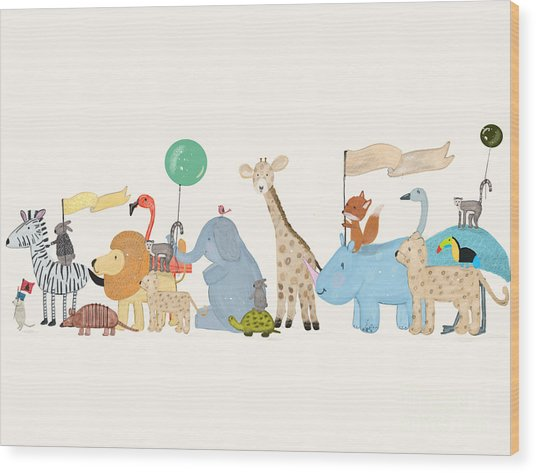 Little Safari Parade Wood Print by Bri Buckley