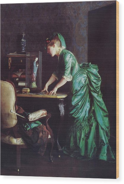 Lizzy Young In Green Wood Print