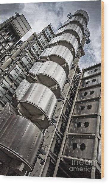 Lloyds Building In London Wood Print by Delphimages Photo Creations