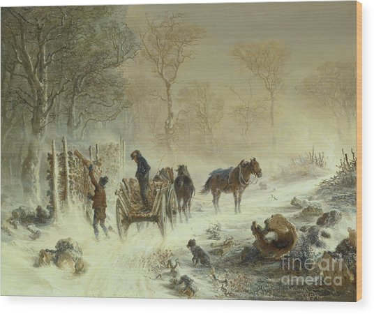 Loading Wood In The Snow, 1858  Wood Print