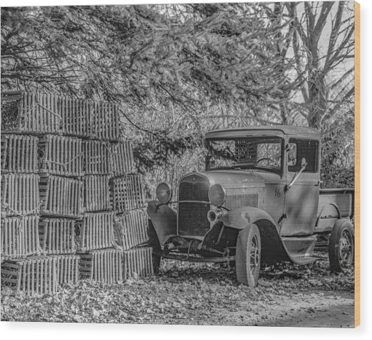 Lobster Pots And Truck Wood Print