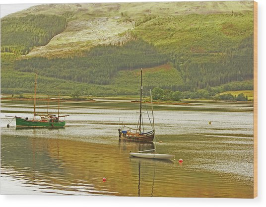 Loch Leven. The Boats At Ballachulish Wood Print