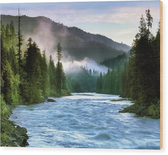 Lochsa River Wood Print by Leland D Howard