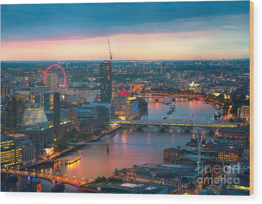 London At Sunset, Panoramic View Wood Print