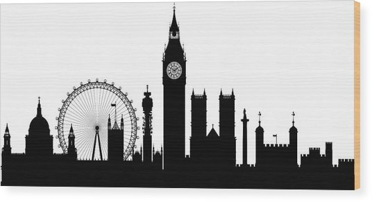 London Buildings Are Detailed, Complete Wood Print by Leontura