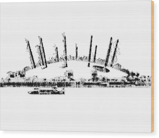 Wood Print featuring the digital art London O2 Arena by ISAW Company