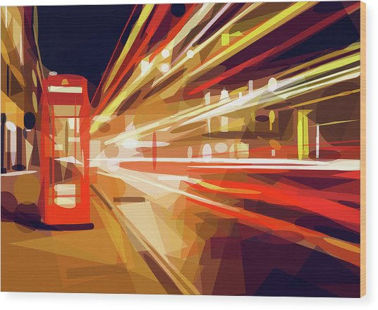 Wood Print featuring the digital art London Phone Box by ISAW Company