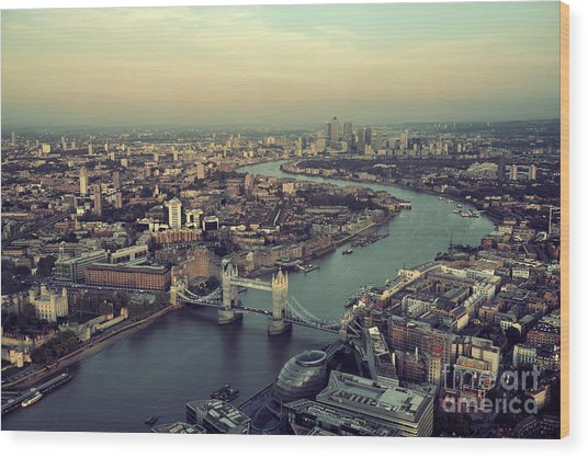 London Rooftop View Panorama At Sunset Wood Print