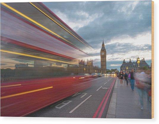 London Rush Hour Wood Print by Rob Maynard