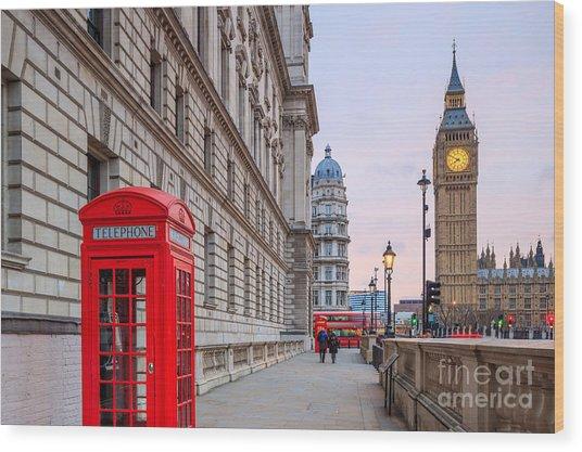 London Skyline With Big Ben And Houses Wood Print