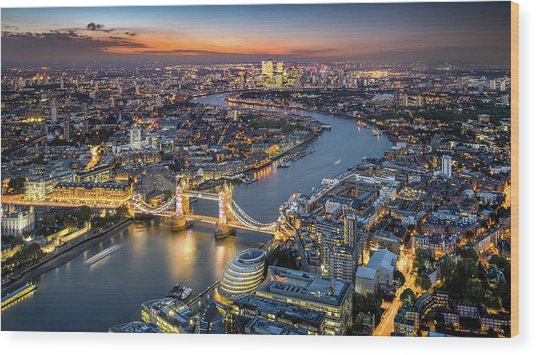 London Skyline With Tower Bridge At Wood Print by Tangman Photography