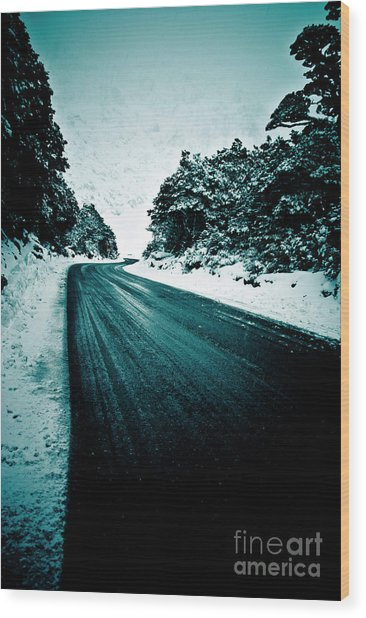 Lonely Road In The Countryside For A Car Trip And Disconnect From Stress Wood Print