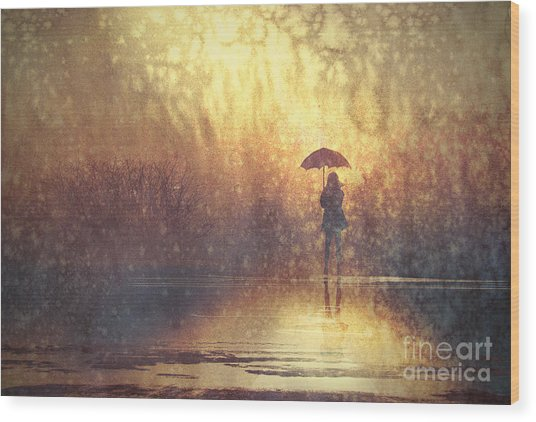 Lonely Woman With Umbrella In Wood Print