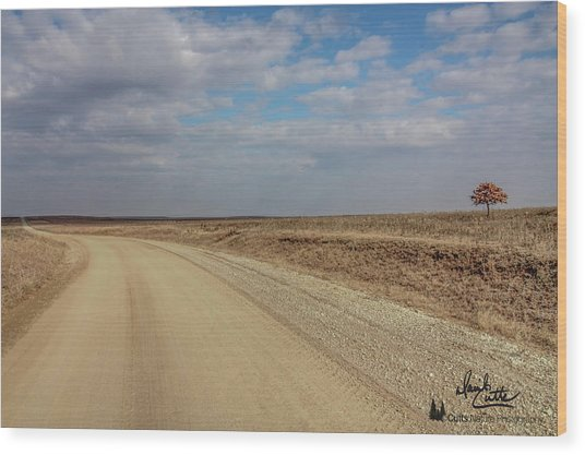 Lonesome Road Wood Print