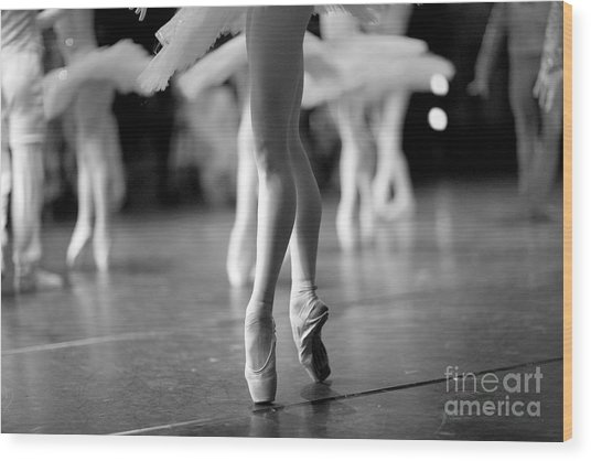 Long And Lean Ballet Dancers Legs Wood Print