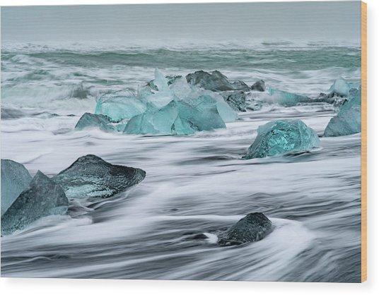 Long Exposure At The Jokulsarlon Ice Beach Wood Print