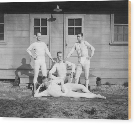 Long Johns On Wood Print by Archive Photos