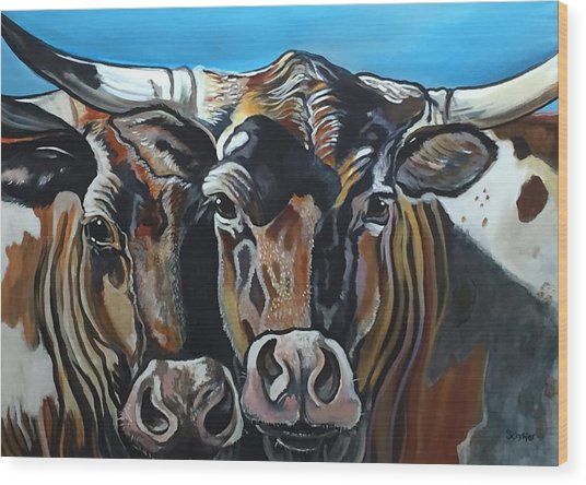 Longhorns, Interrupted Wood Print
