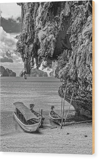 Longtail Boats - Phang Nga Bay - Thailand Bw Wood Print