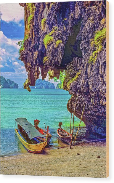 Longtail Boats - Phang Nga Bay - Thailand Wood Print