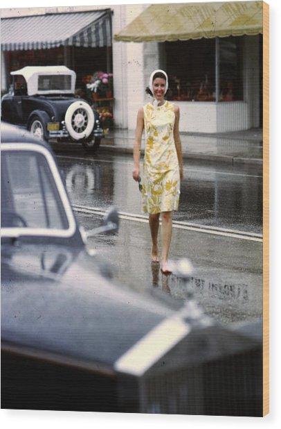 Look No Shoes Wood Print by Slim Aarons