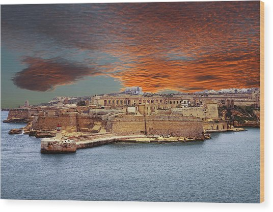 Looking Across Harbor From Fort St Elmo To  Fort Rikasoli Wood Print