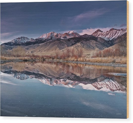 Lost River Range Winter Reflection Wood Print by Leland D Howard