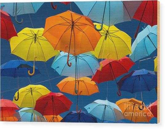 Lots Of Umbrellas Coloring The Sky In Wood Print